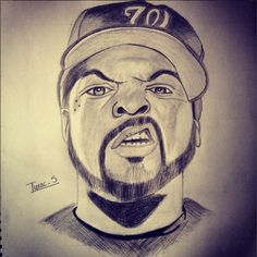 236x236 Ice Cube Portrait Judging Expression Portrait Drawings