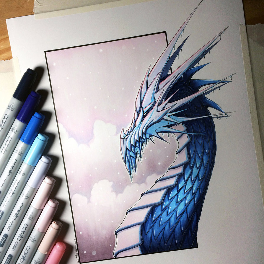 894x894 Ice Dragon Drawing By Lethalchris