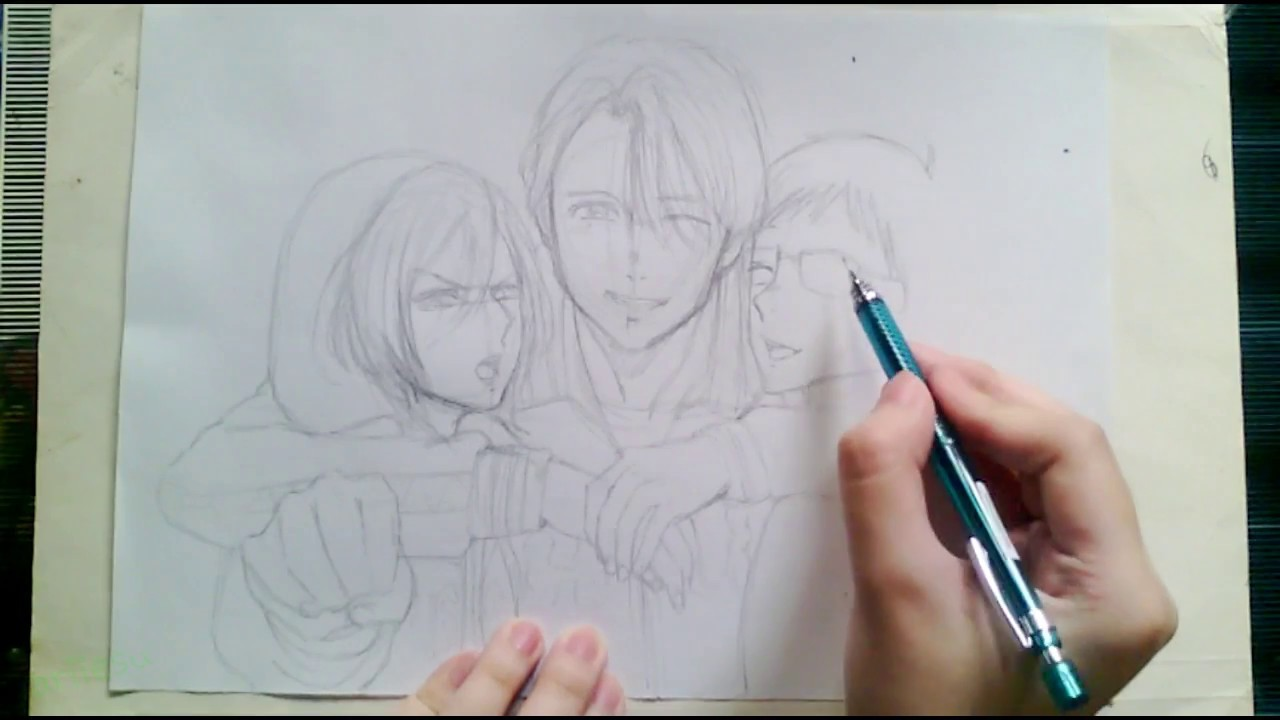 1280x720 Anime Drawing Yuri On Ice (Part 1) Real Time Sketch