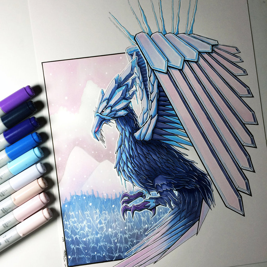 894x894 Ice Phoenix Drawing By Lethalchris