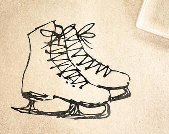 340x270 Ice Skate Stamp Etsy