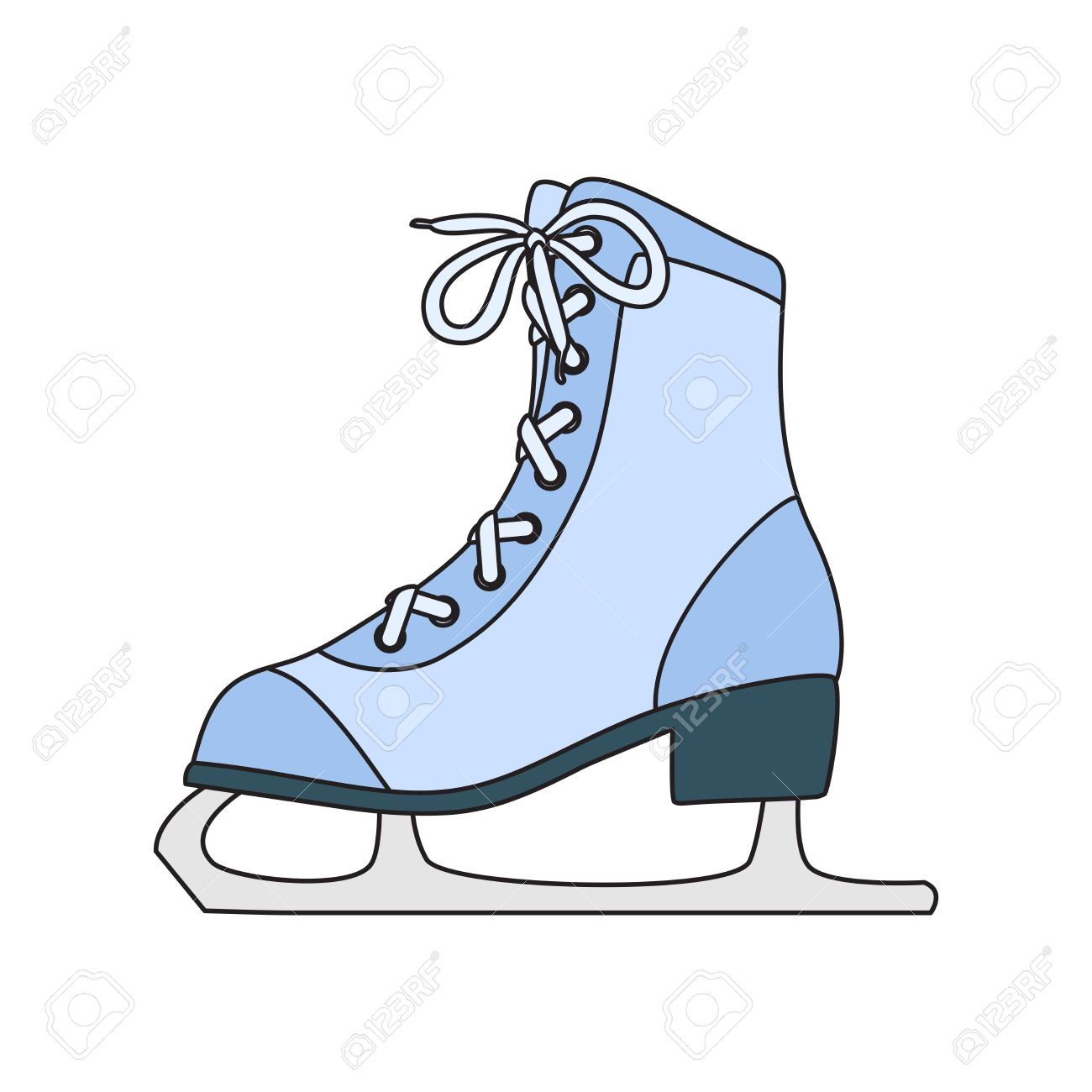 1300x1300 Ice Skates Line Art Drawing On White Background Royalty Free