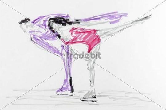 540x360 Drawing, Figure Skating, Artist Gerhard Kraus, Kriftel