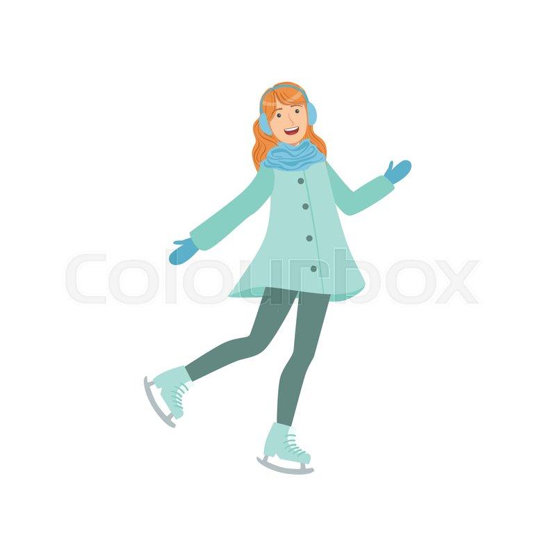 800x800 Girl Ice Skating Winter Sports Illustration Isolated On White