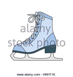 300x320 Ice Skates Line Art Drawing On White Background Stock Vector Art
