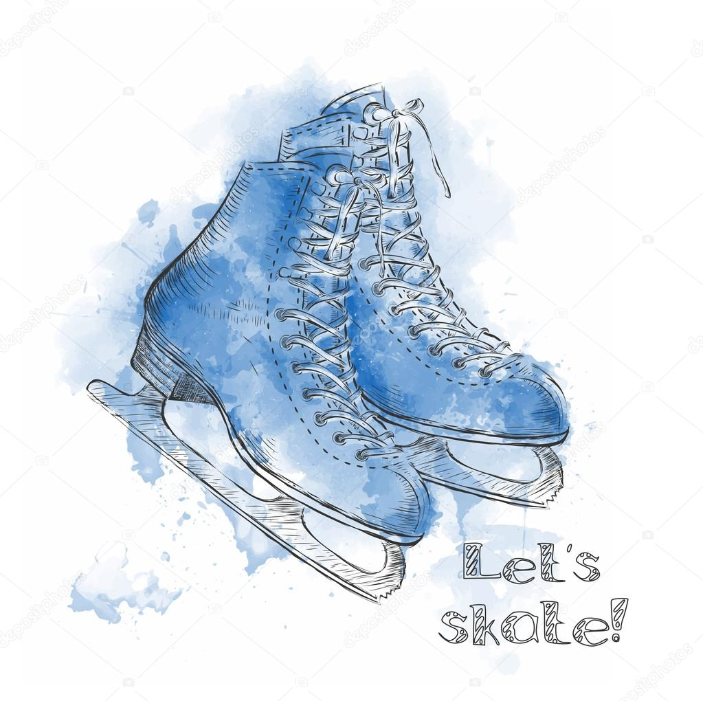 1023x1020 Watercolor Winter Holidays Card With Ice Skates Cartoon Sketch