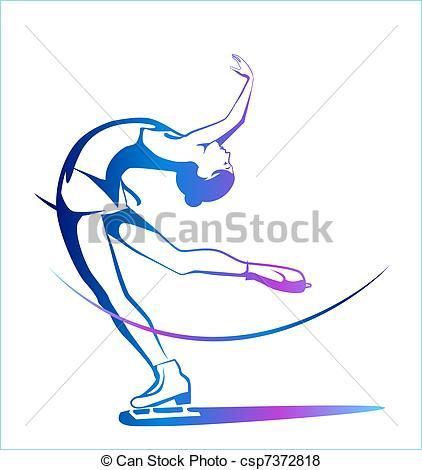 422x470 Winter Sport. Ladies Figure Skating. Ice Show. Vector