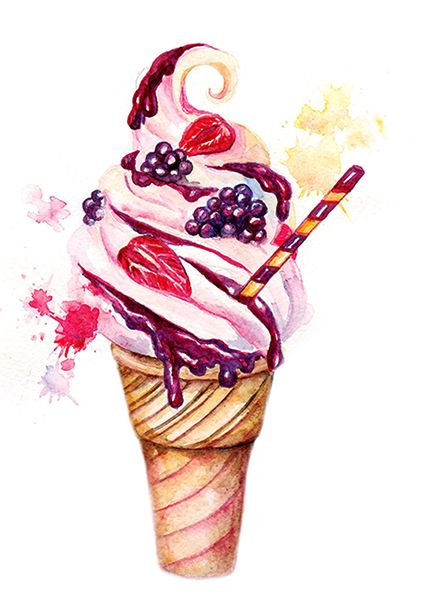 425x601 Ice Cream Art Ice Cream Painting Ice Cream Watercolor Ice Cream