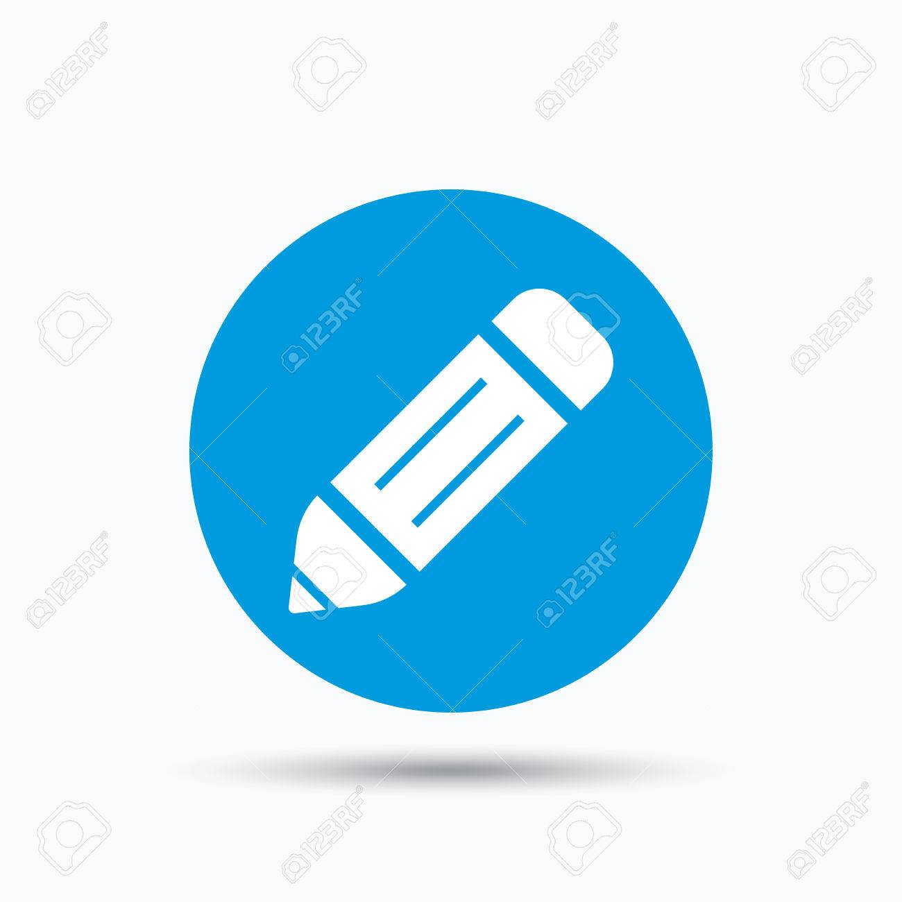 1300x1300 Edit Icon. Pencil For Drawing Symbol. Blue Circle Button