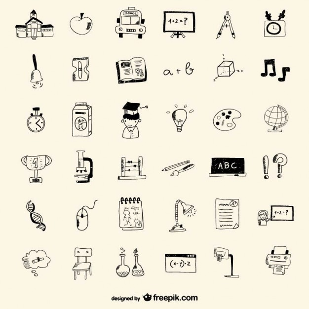 626x626 School Icons Drawing Style Vector Free Download