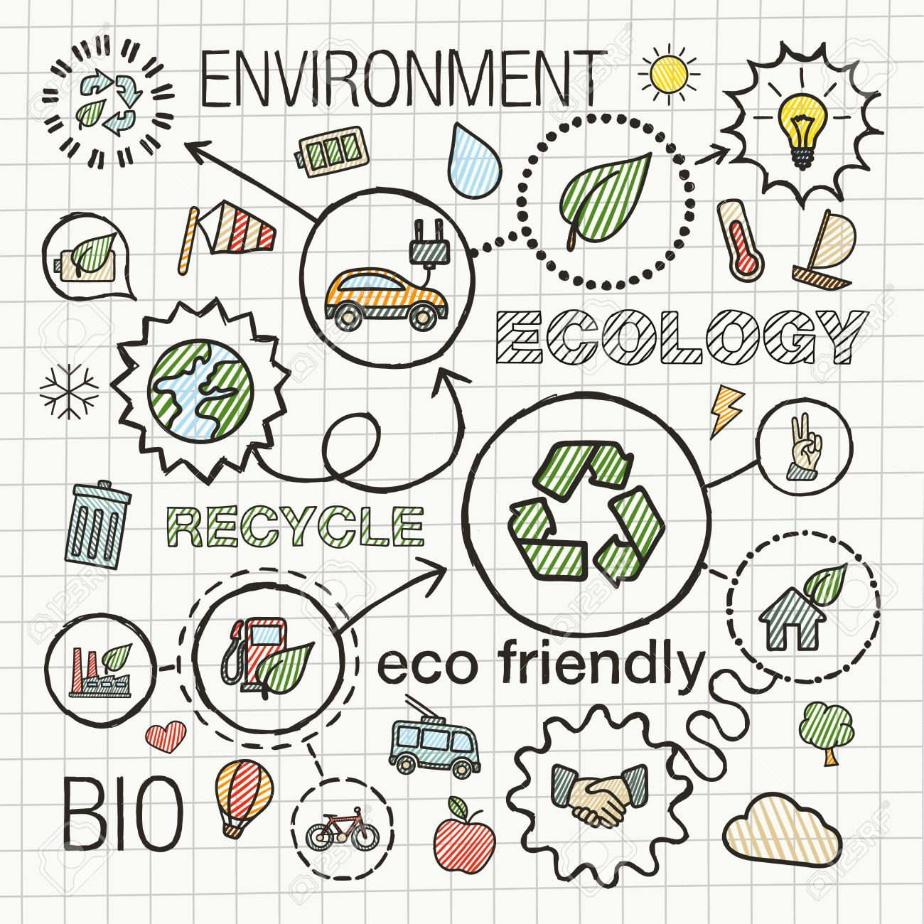 1300x1300 Ecology Infographic Hand Draw Icons. Vector Sketch Integrated