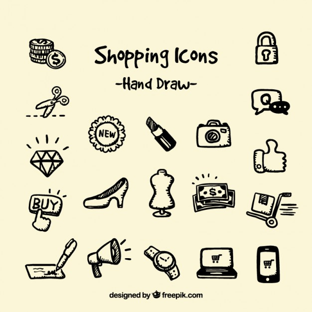626x626 Hand Drawn Shopping Icons Vector Free Download