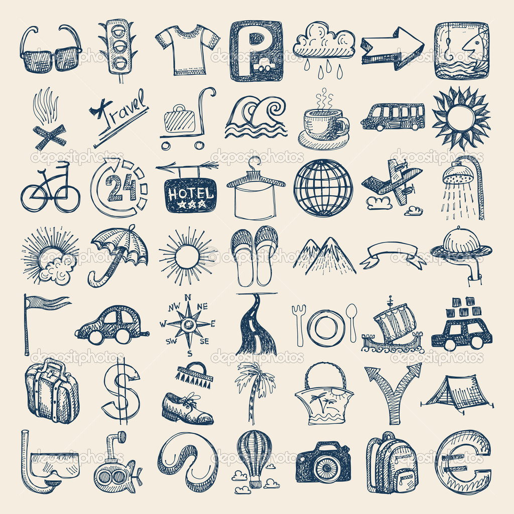1024x1024 Hand Drawn Travel Icons Vector