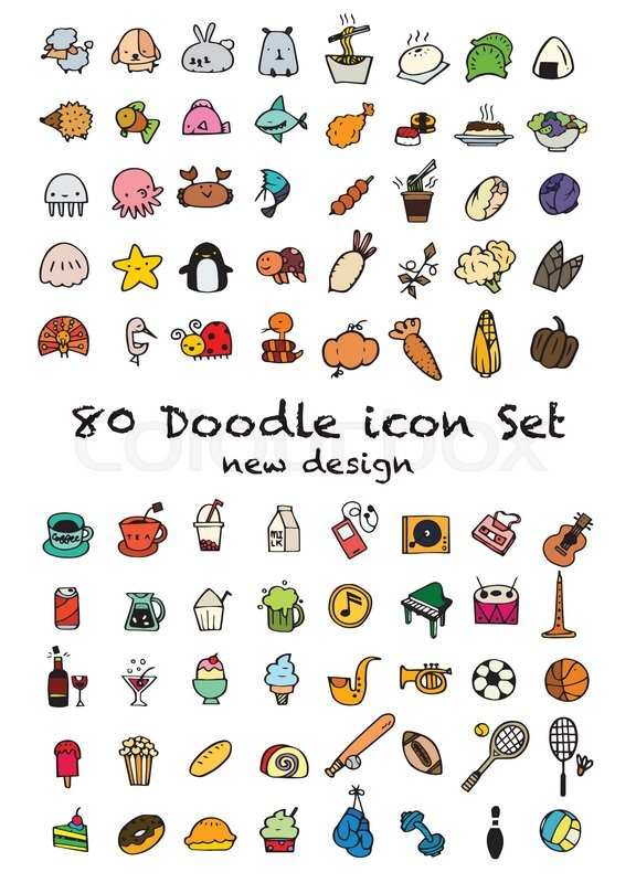 576x800 Set Of 80 Cute Doodle Icons Universal Set,animal Icons , Sport