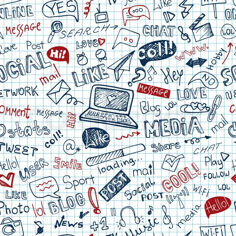 800x800 Social Media Word And Icons Seamless Pattern In Doodle Sketchy