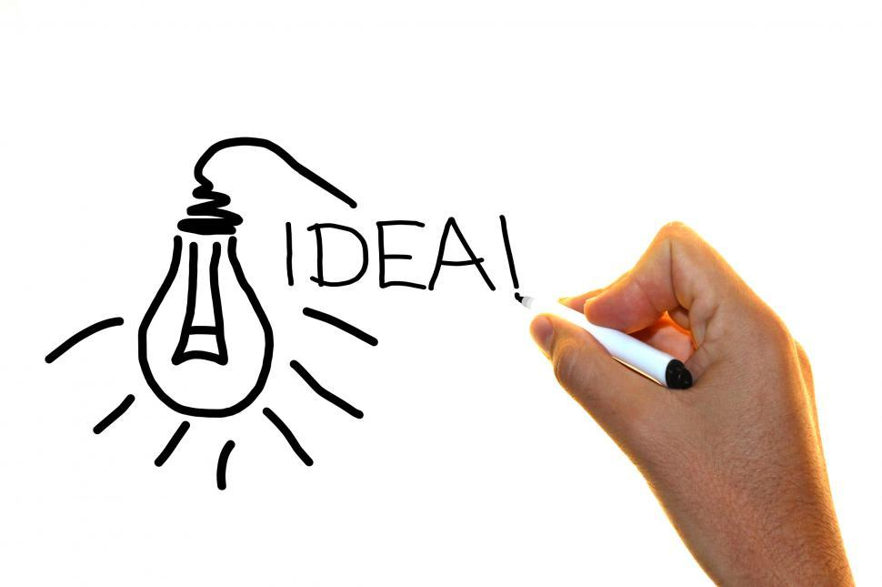 970x645 Get Free Stock Photo Of Hand Drawing The Word Idea With Lightbulb