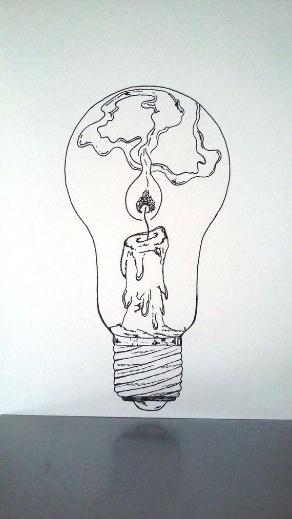 570x1013 Affiche Illustration Noir Et Blanc Ampoule Tenir Une Lampe