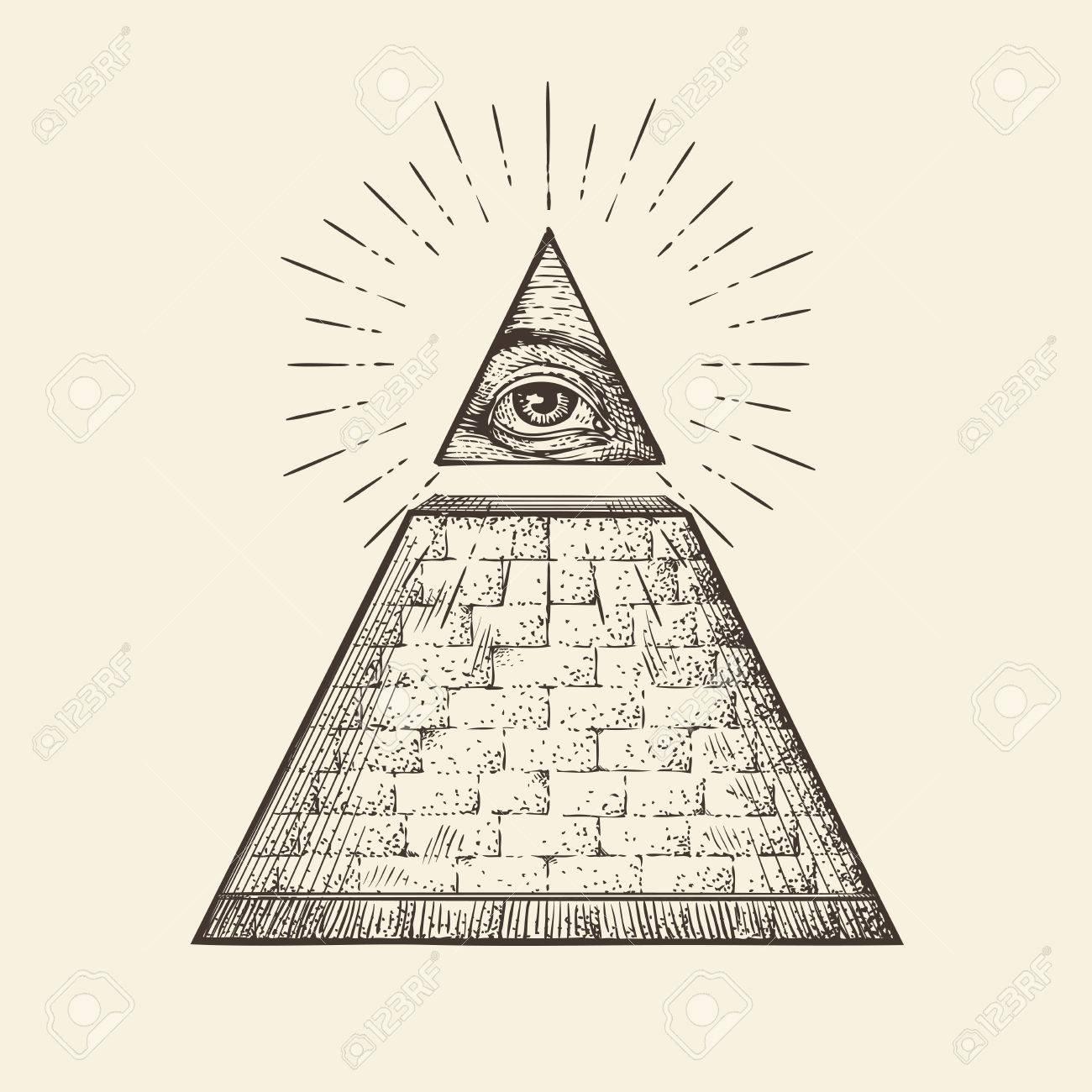 1300x1300 All Seeing Eye Pyramid Symbol New World Order Hand Drawn Sketch