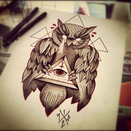 500x500 Grey Ink Owl And Triangle Eye Tattoo Design.jpg Cosas