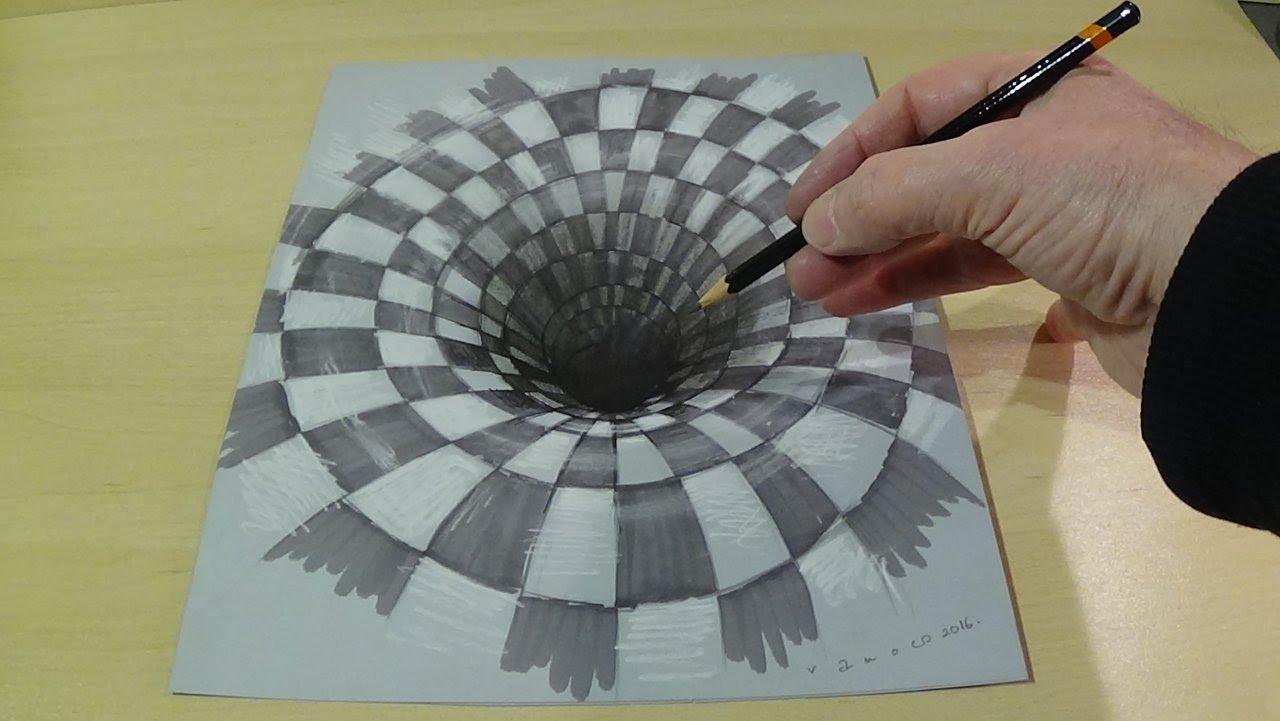 1280x721 Drawing A Hole Illusion, 3d Trick Art