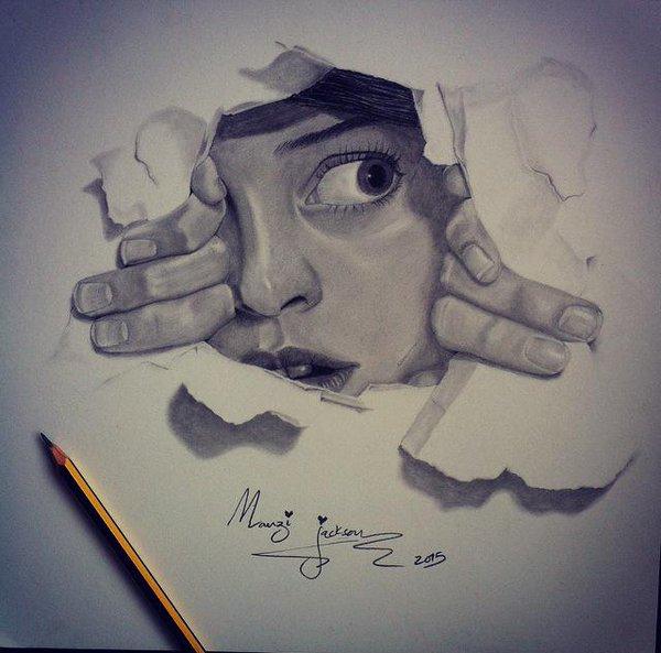 600x593 Manzi Jackson On Twitter Pencil Drawing 3d Illusion