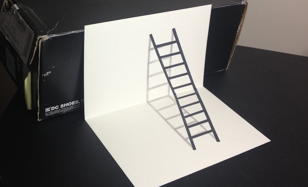 1200x731 3d Ladder Optical Illusion Drawing