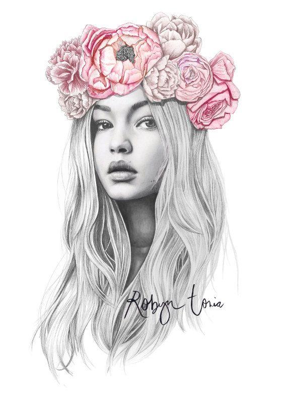 558x800 Gigi Hadid Flower Crown Fashion Illustration Portrait Fashion