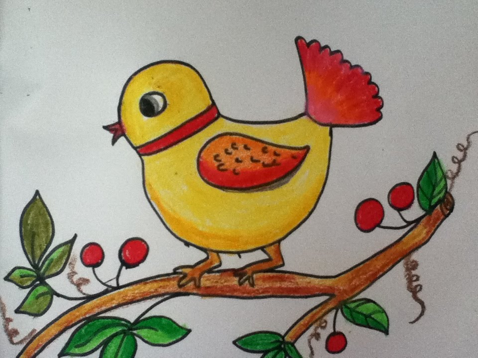 960x720 Bird Drawing For Kids