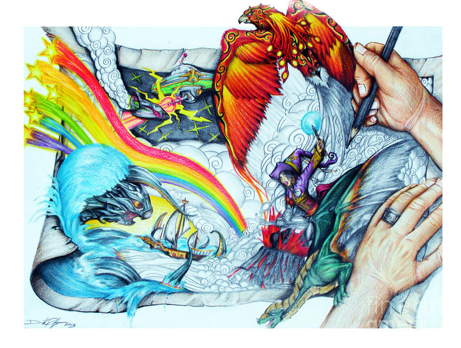 900x680 Beyond Imagination Drawing By Derrick Bruno Rathgeber