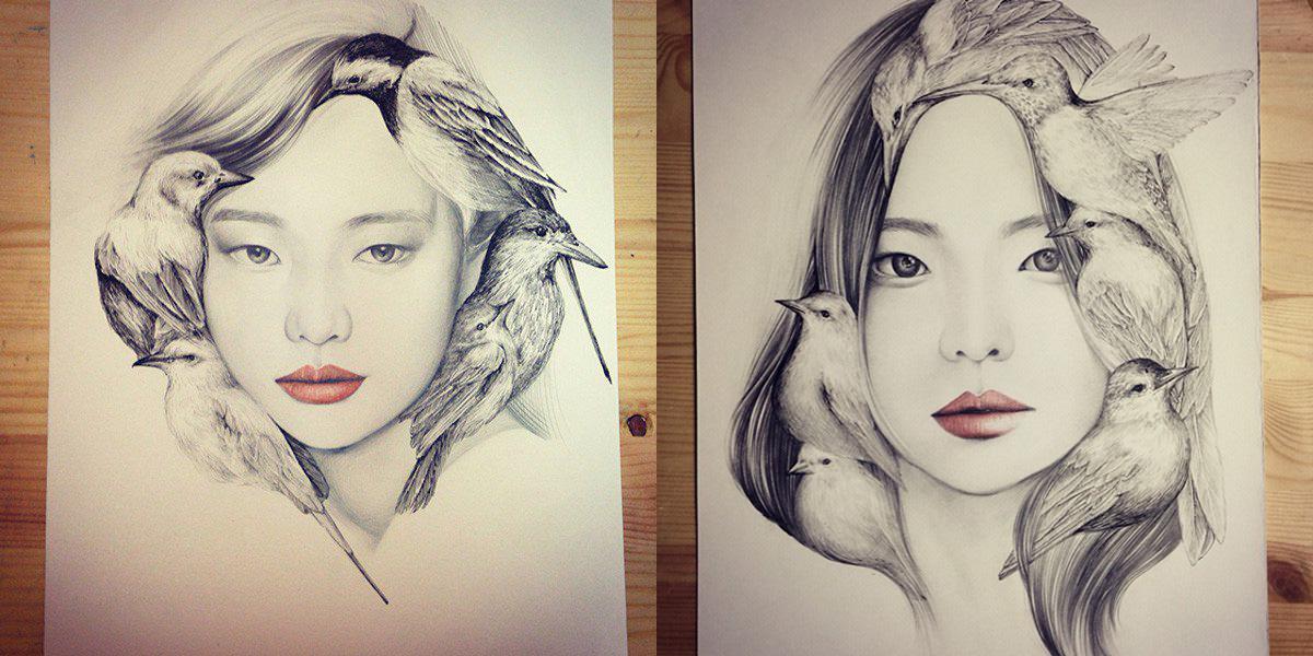 1200x600 Sweet Art Pencil Drawing By Gokart 99inspiration