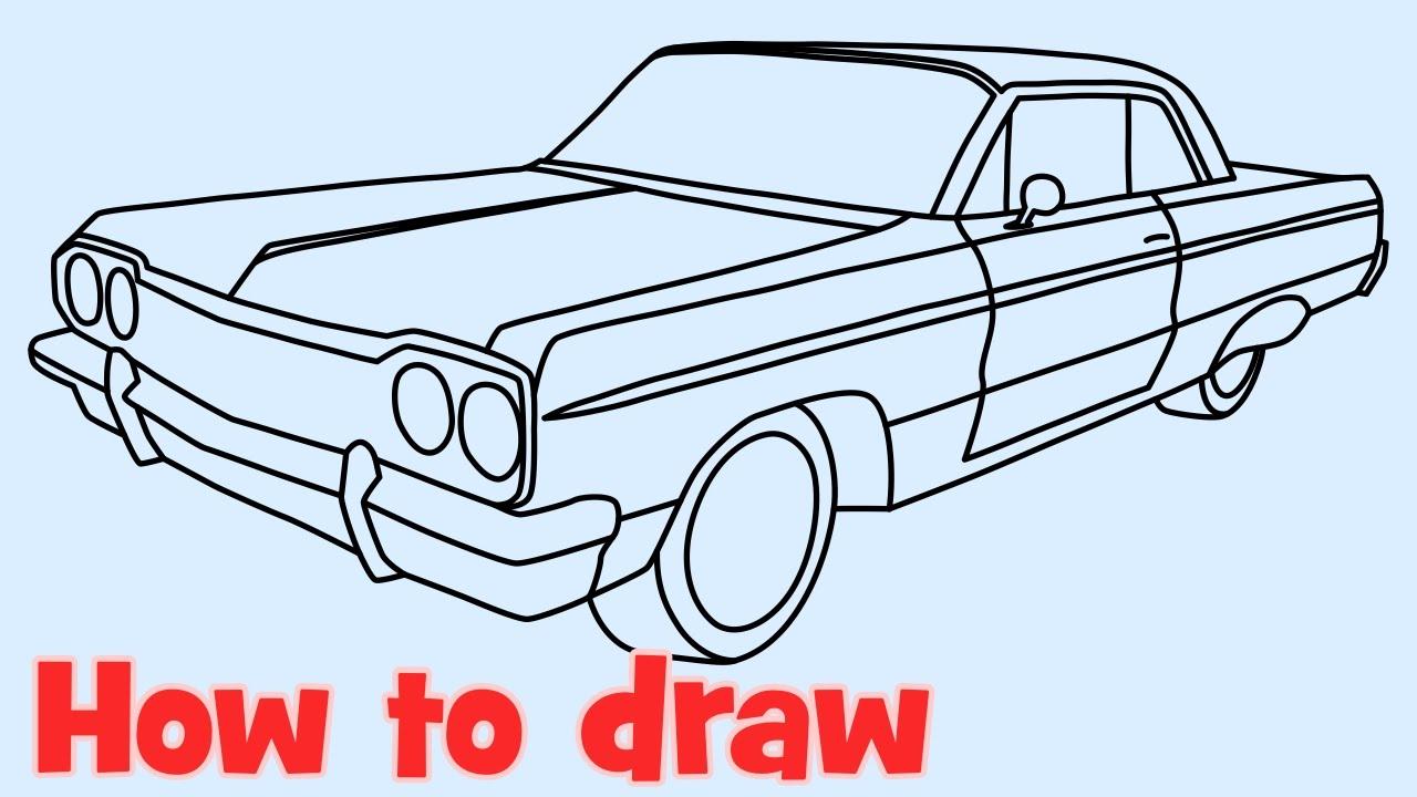 1280x720 How To Draw A Car Chevrolet Impala Lowrider 1964