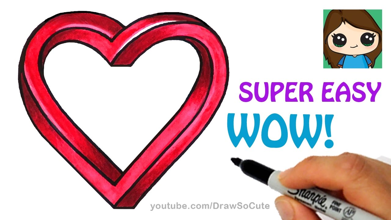 1280x720 How To Draw Impossible Heart Easy Optical Illusion Fun