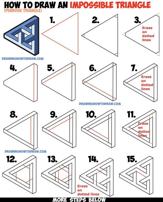 564x696 How To Draw An Impossible Triangle (Penrose Triangle) That Looks
