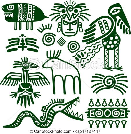 450x461 Aztec And Inca Native Tribal Signs. Aztec And Inca Native Eps