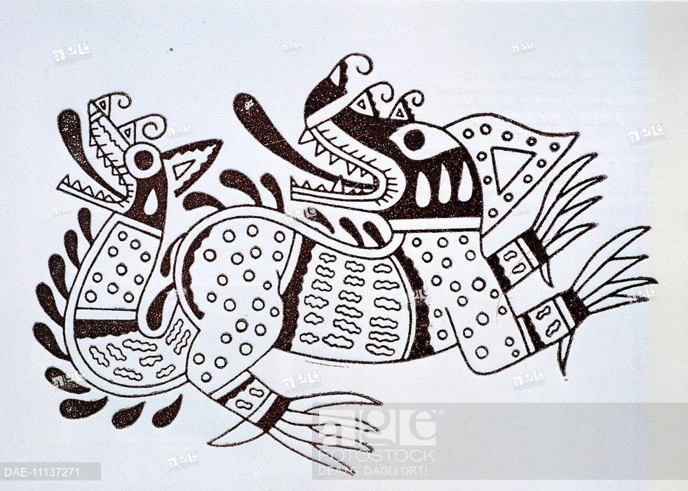 981x700 Pottery Design Depicting A Dragon, Artefact From Peru. Pre Inca