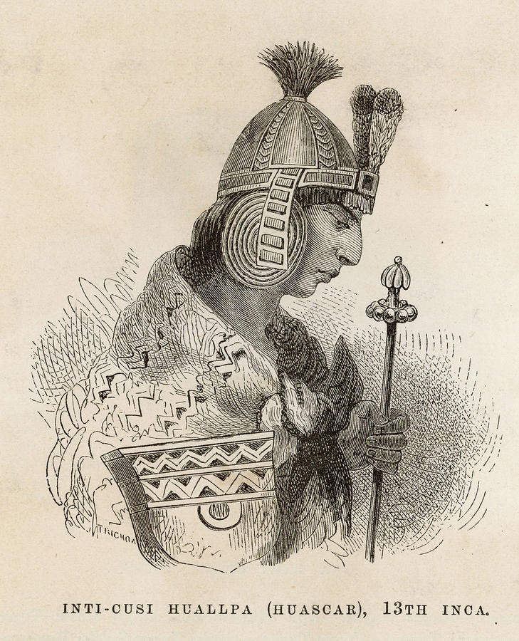 729x900 Washkar Inka (Or Huascar Inca) Drawing By Mary Evans Picture Library