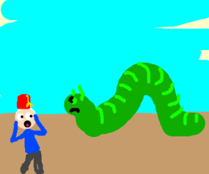 300x250 Angry Giant Inchworm Threatens Man With Fez