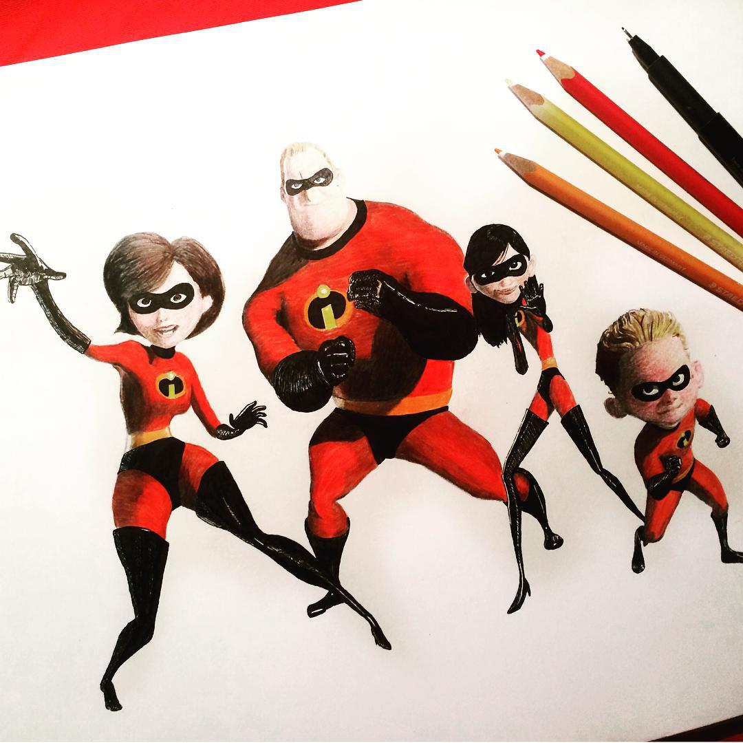 1080x1080 The Incredibles Drawing By Sdjcoxy