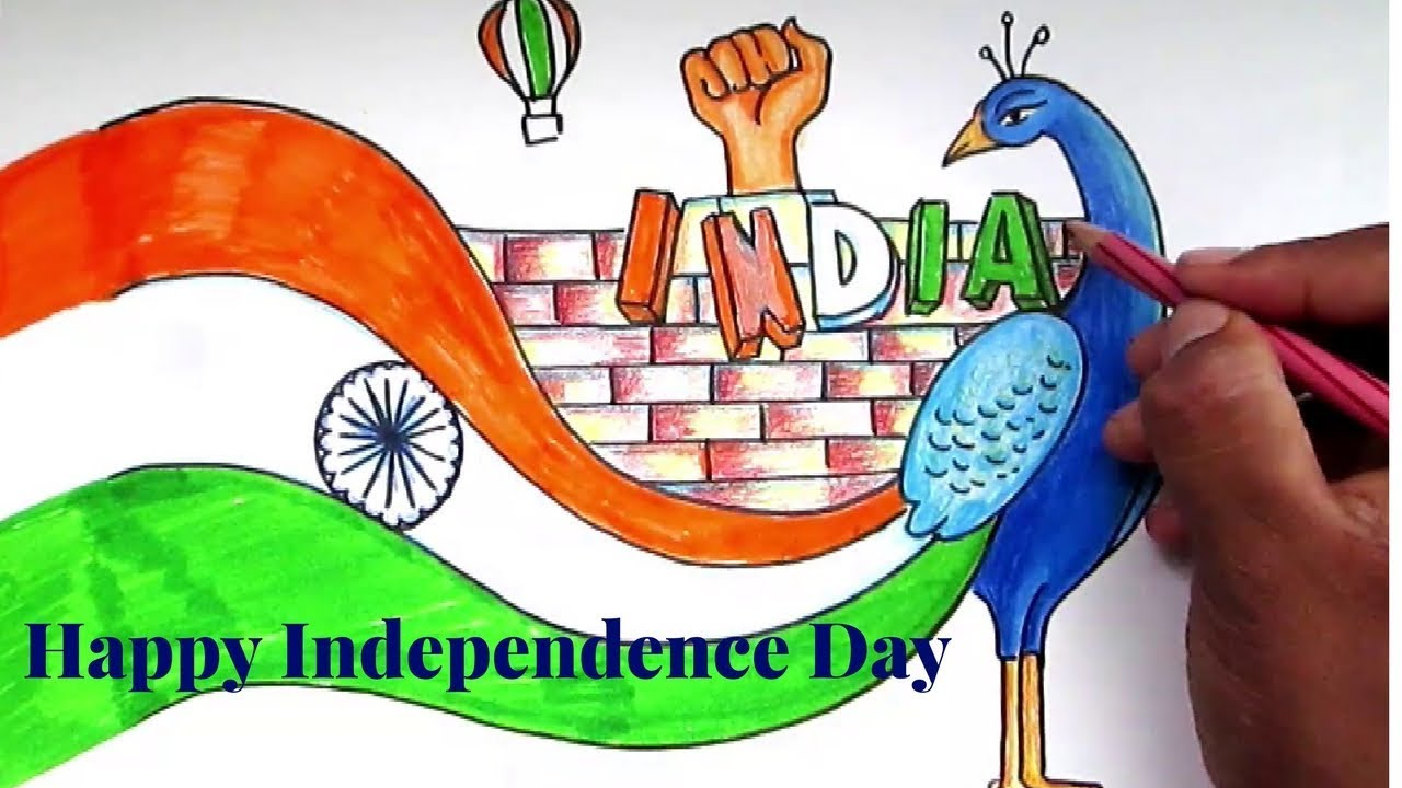 1280x720 Creative Drawing (Happy Independence Day) For Kids