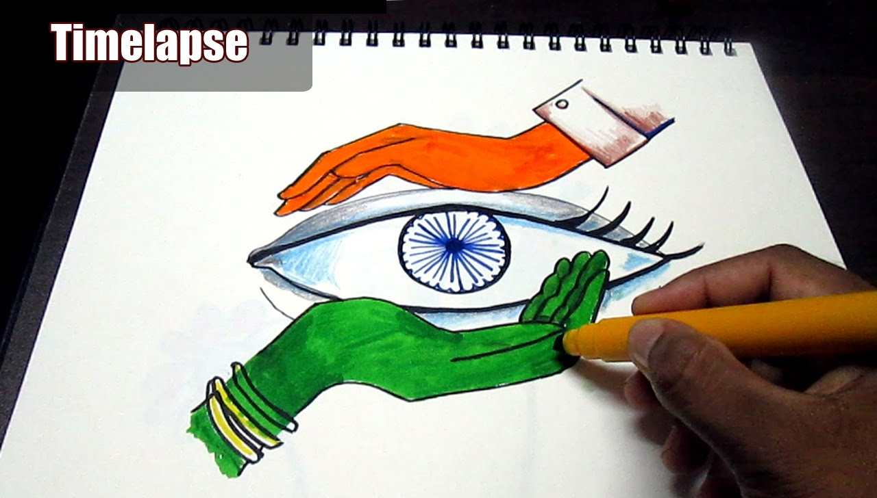 1280x728 Creative Drawing (Happy Independence Day) For Kids Time Lapse