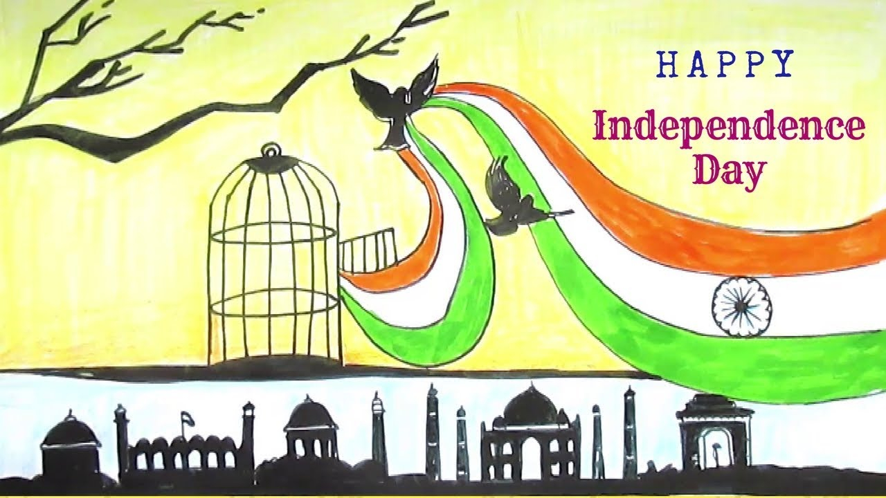 1280x720 Drawing Of The Day Creative Drawing (Happy Independence Day)