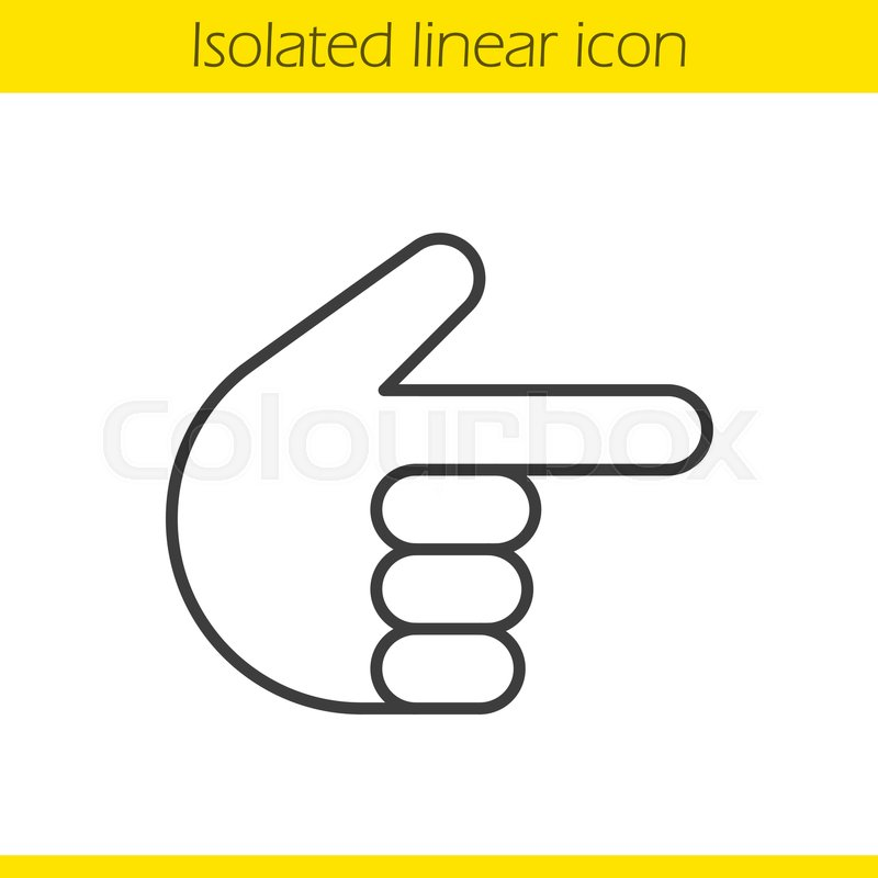 800x800 Point Right Hand Gesture Linear Icon. Thin Line Illustration