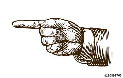 500x318 Pointing Hand Sketch. Forefinger, Index Finger. Vintage, Retro