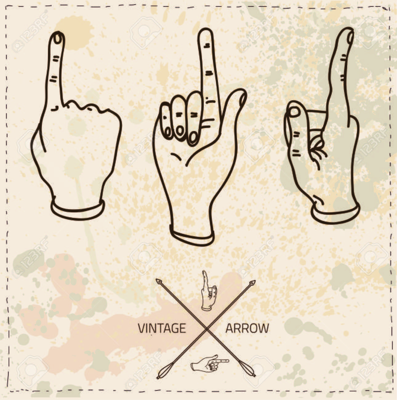 1290x1300 Vector Drawing Hand With The Index Finger Indicates The Direction