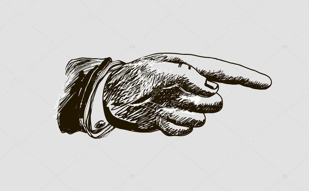1023x633 Vector Drawing Hand With The Index Finger Stock Vector
