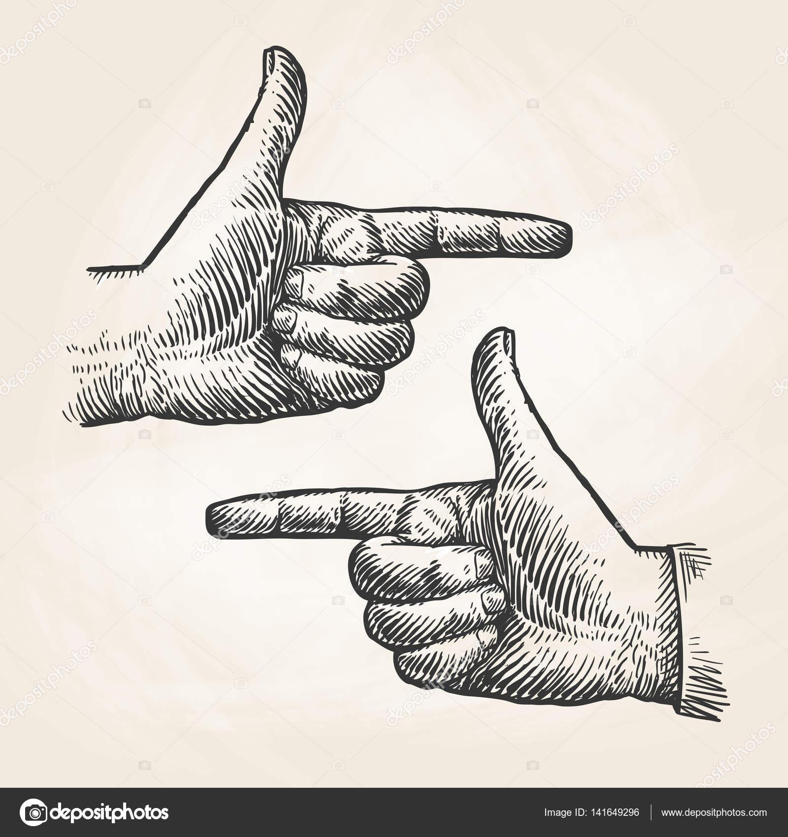 1600x1700 Vintage Pointing Hand Drawing. Forefinger, Index Finger Sketch