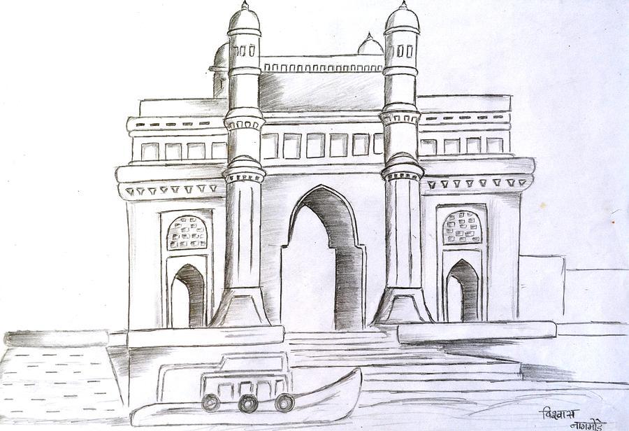 900x616 Way Of India Drawing By Vishwas Nagmode