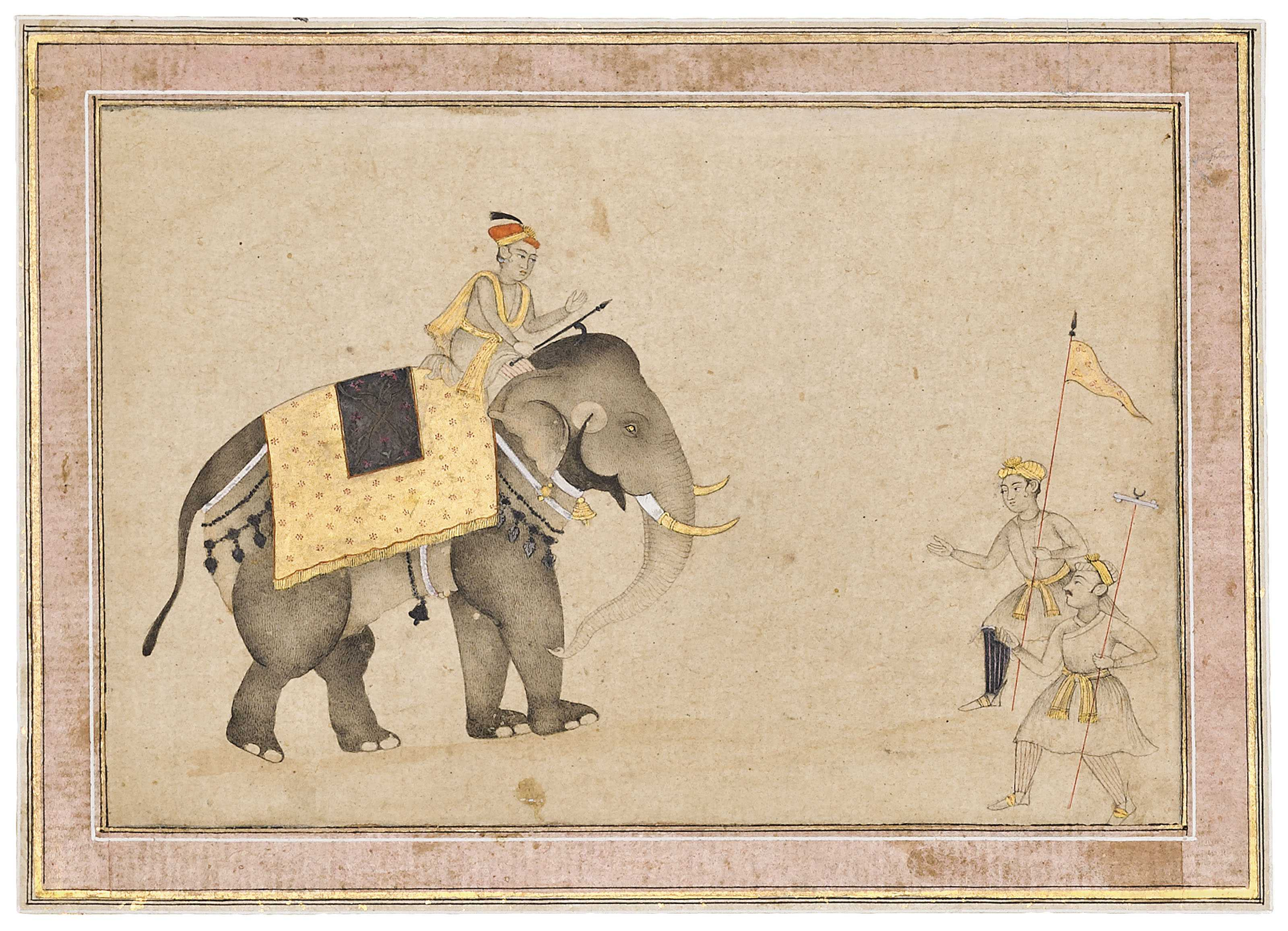 3200x2315 A Fine Drawing Of An Elephant With Mahout And Trainers, Mughal