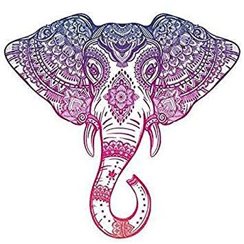 355x354 Purple Pink Ombre Henna Pattern Elephant Head Drawing