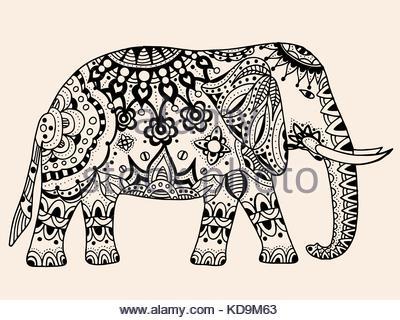 400x320 Ethnic India Elephant Illustration , Hand Drawing, Vector Stock